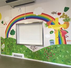 The Priory School, Christchurch. Canteen Mural 2019