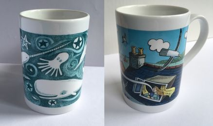 Two illustrated mugs with wraparound designs.