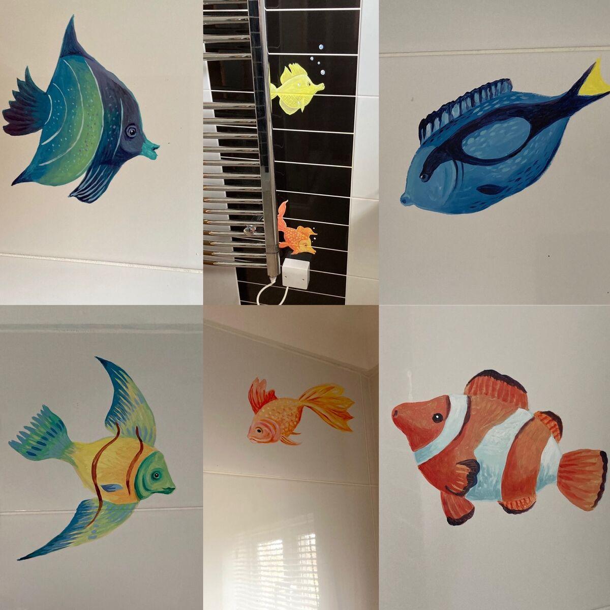 Bathroom tropical fish in enamel paints.