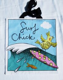 Surf Chick professionally printed tote bag.