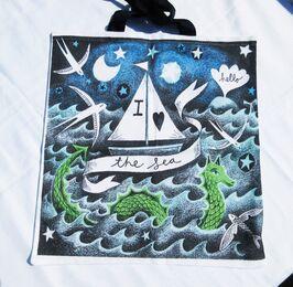 Professionally printed tote bag 'I Love the Sea'.