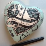 Hand illustrated Papier Mache Heart - 'I Love the Sea'.