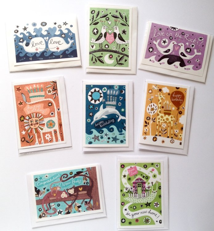 Animals and Stars Occasions range of greetings cards.