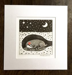 Digital print of Sleeping Badger with a red party hat on. For 12x12 inch frame