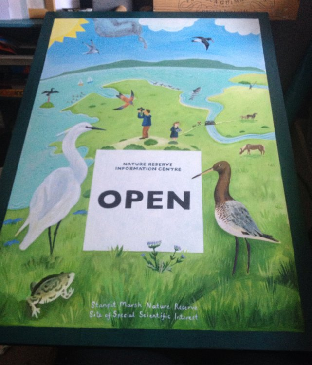 Hand painted exterior sign for Nature Reserve Information Centre.