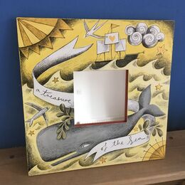 'A Treasure of the Sea' hand Illustrated wooden mirror in yellows and greys.