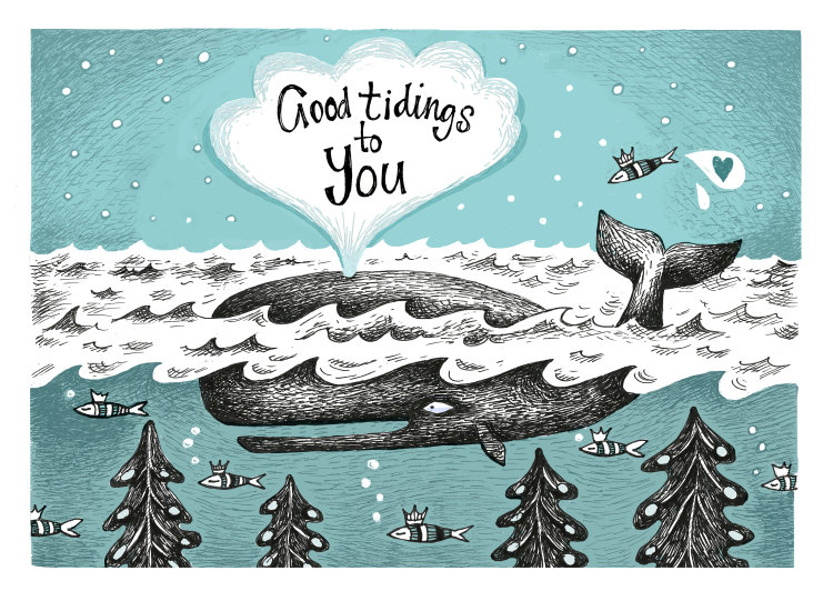 A6 illustrated 'Good Tidings' Card on 300gms card.