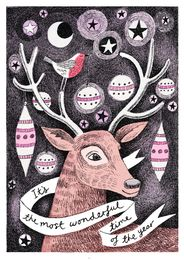 Reindeer and Baubles Christmas Card