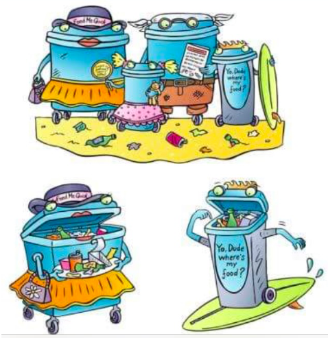 Illustrated hungry bin family for Bournemouth seafront