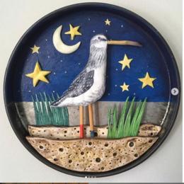 Wader in Moonlight 3-D illustrated Artwork in vintage tin lid