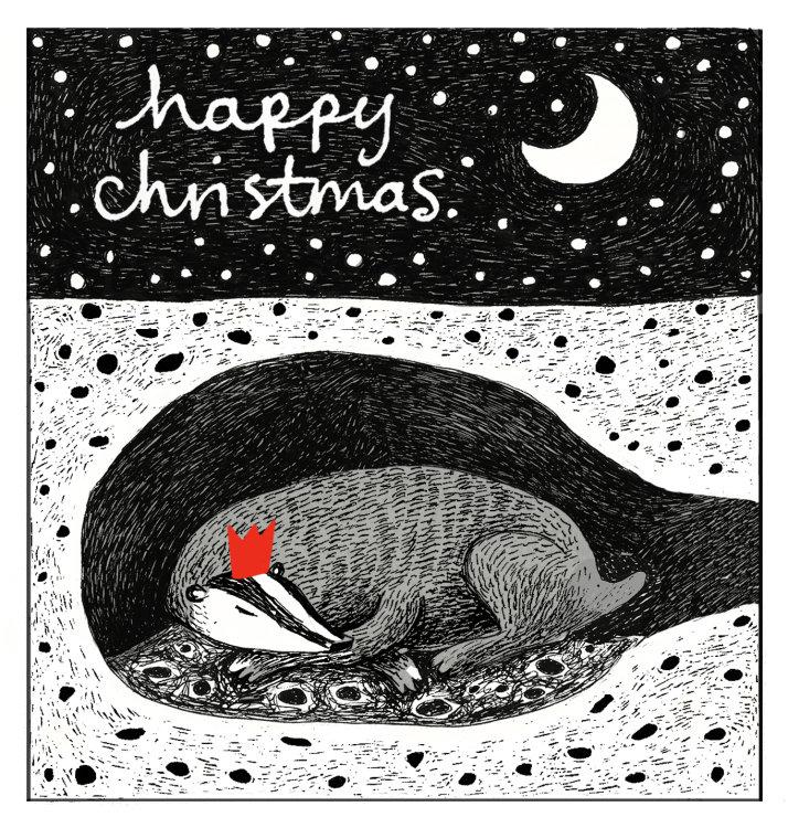 Christmas Card - Sleeping Badger 13 x 13cm on 300gms card.