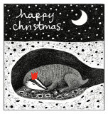 Christmas Card - Sleeping Badger 13 x 13cm on 300gms card.