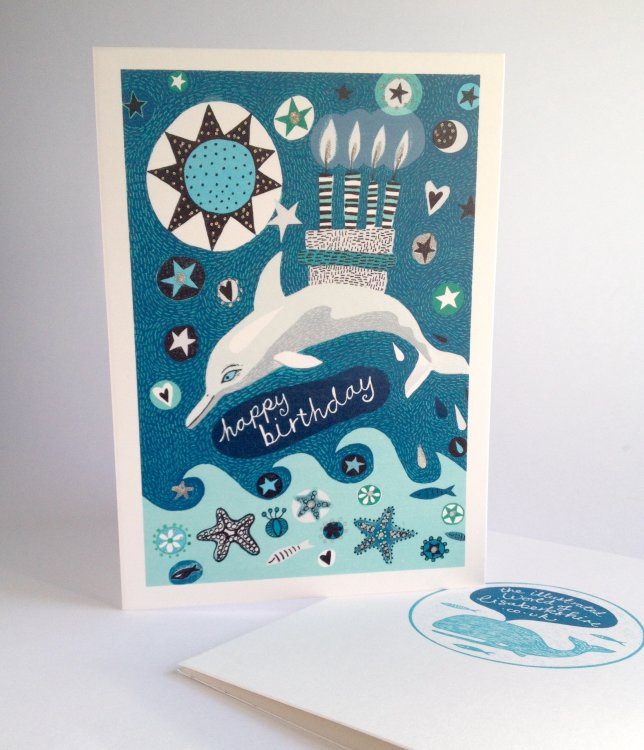 Happy Birthday Dolphin Card. From Animals and Stars Range.