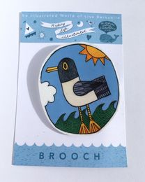 Illustrated Seagull Brooch