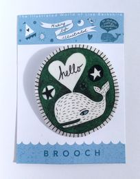 Illustrated Green 'Hello Whale' brooch