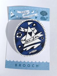 Illustrated 'I Love the Sea' Brooch