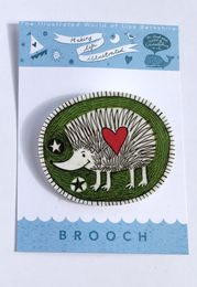 Illustrated Green Hedgehog Brooch
