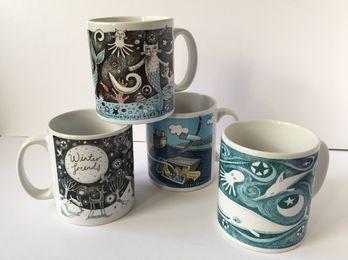 Four mug designs