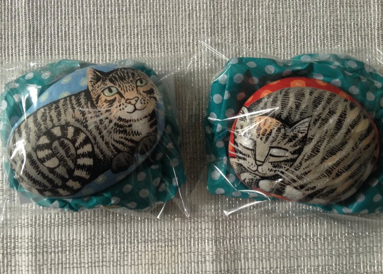 Two hand illustrated Cat portrait stones.