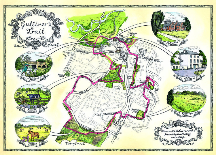 Gullivers Trail Map to illustrate a walk North of Bournemouth.