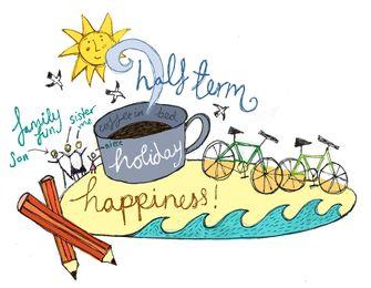 Cartoon Illustration - Half Term Holiday Happiness