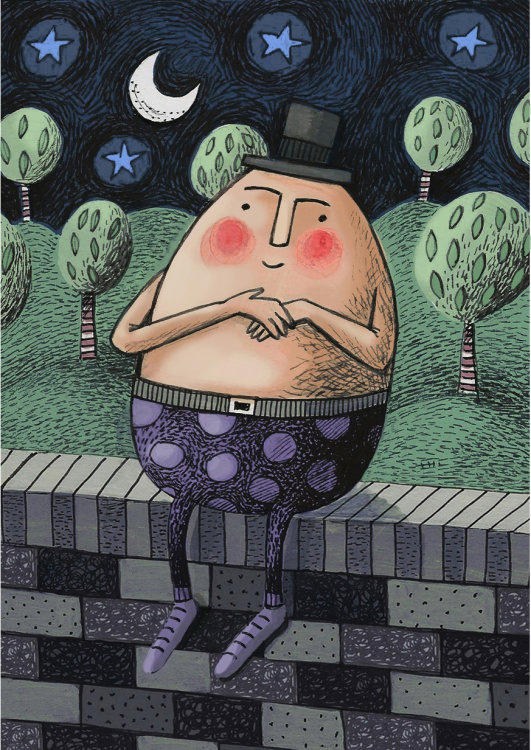 Humpty Dumpty Sat on a Wall - Children's Illustration