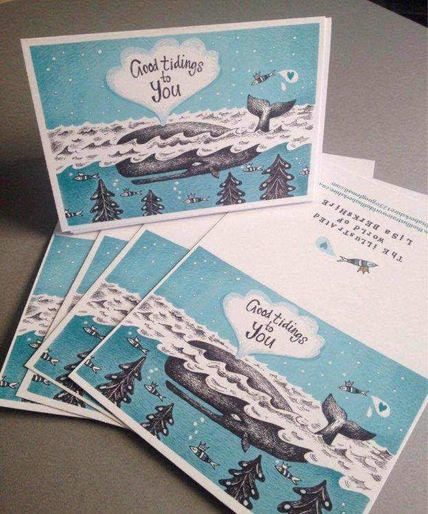 Christmas Card - Good Tidings Whale.