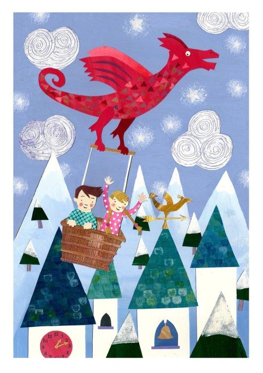 Fairytale Dragon Collaged Illustration.