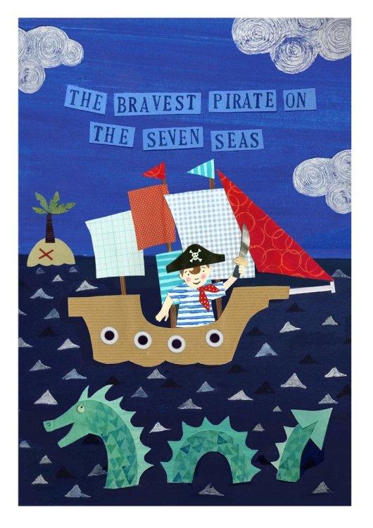 Pirate Boy - Collage Illustrated Artwork