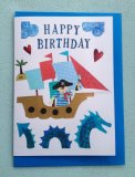 Boy's Happy Birthday Pirate Greetings Card.