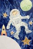 Astronaut Boy Handprinted Illustration
