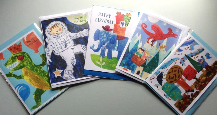 Selection of 5 greetings cards for children.