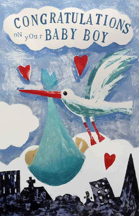 Stork with Baby Boy - Hand Printed Artwork in Acrylics