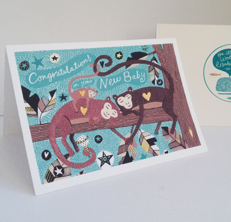 Congratulations on your new baby card. Monkey Family.