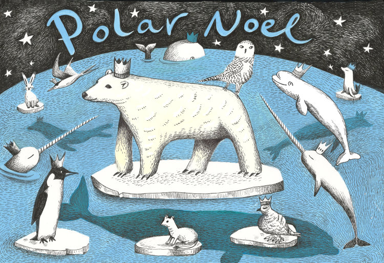 Polar Noel - Polar Bear and animals Christmas Card on 300gms Card.