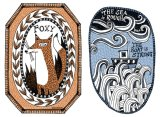 Scrimshaw inspired artworks. 'Foxy' and 'The Boat is Strong'.