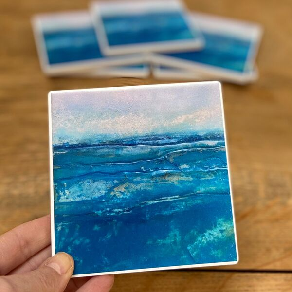 Blue Tides Ceramic Coaster