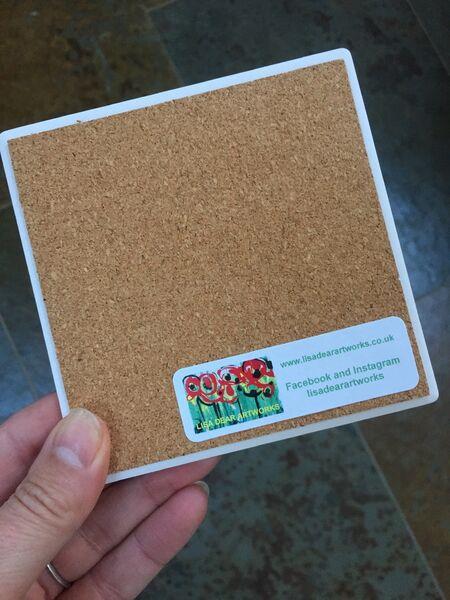 Lisa Dear Artworks Brand Sticker on Ceramic Coaster