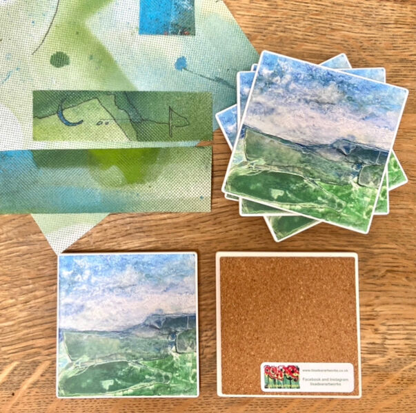 Green Fields Ceramic Coaster