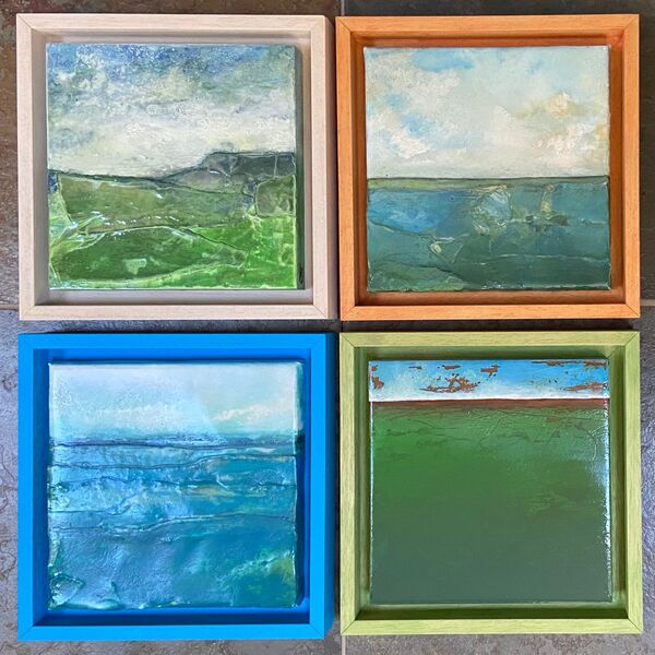 Coloured Frames on Original Woodblocks