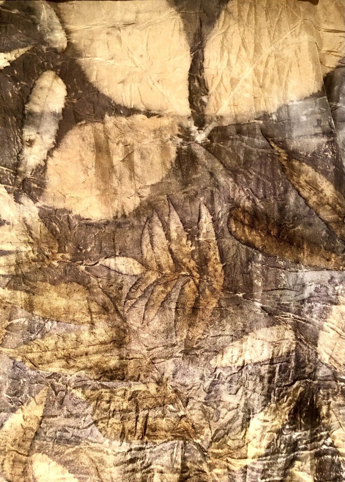 Detail: gold and bronze contact print on silk