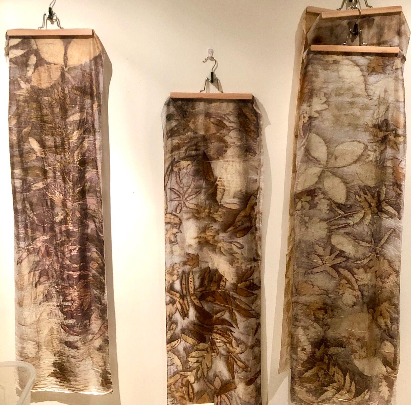 Eco- prints on silk scarves