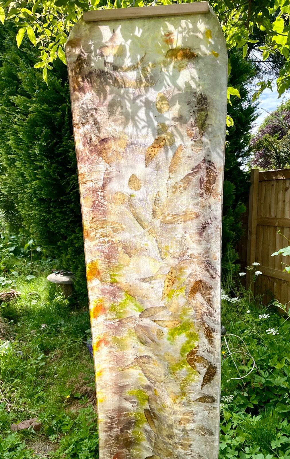 Summer eco-print silk scarf