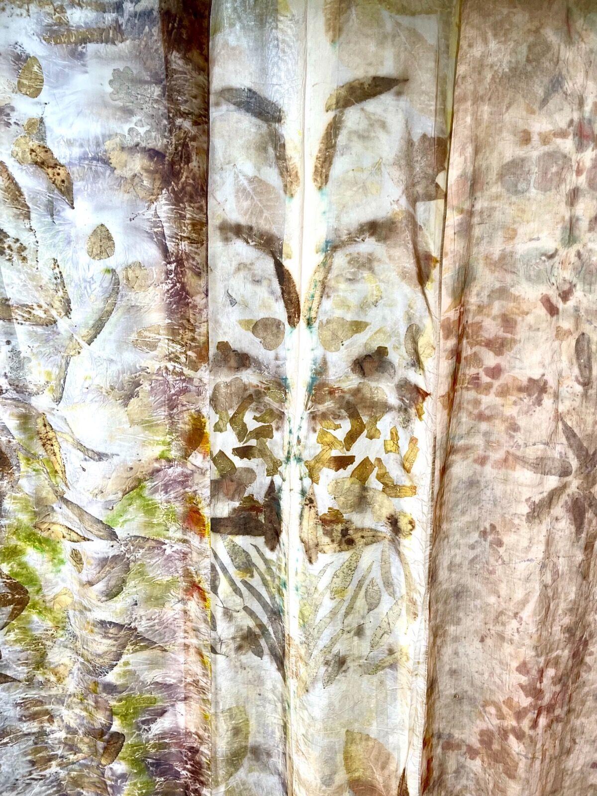 Eco-print silk scarves