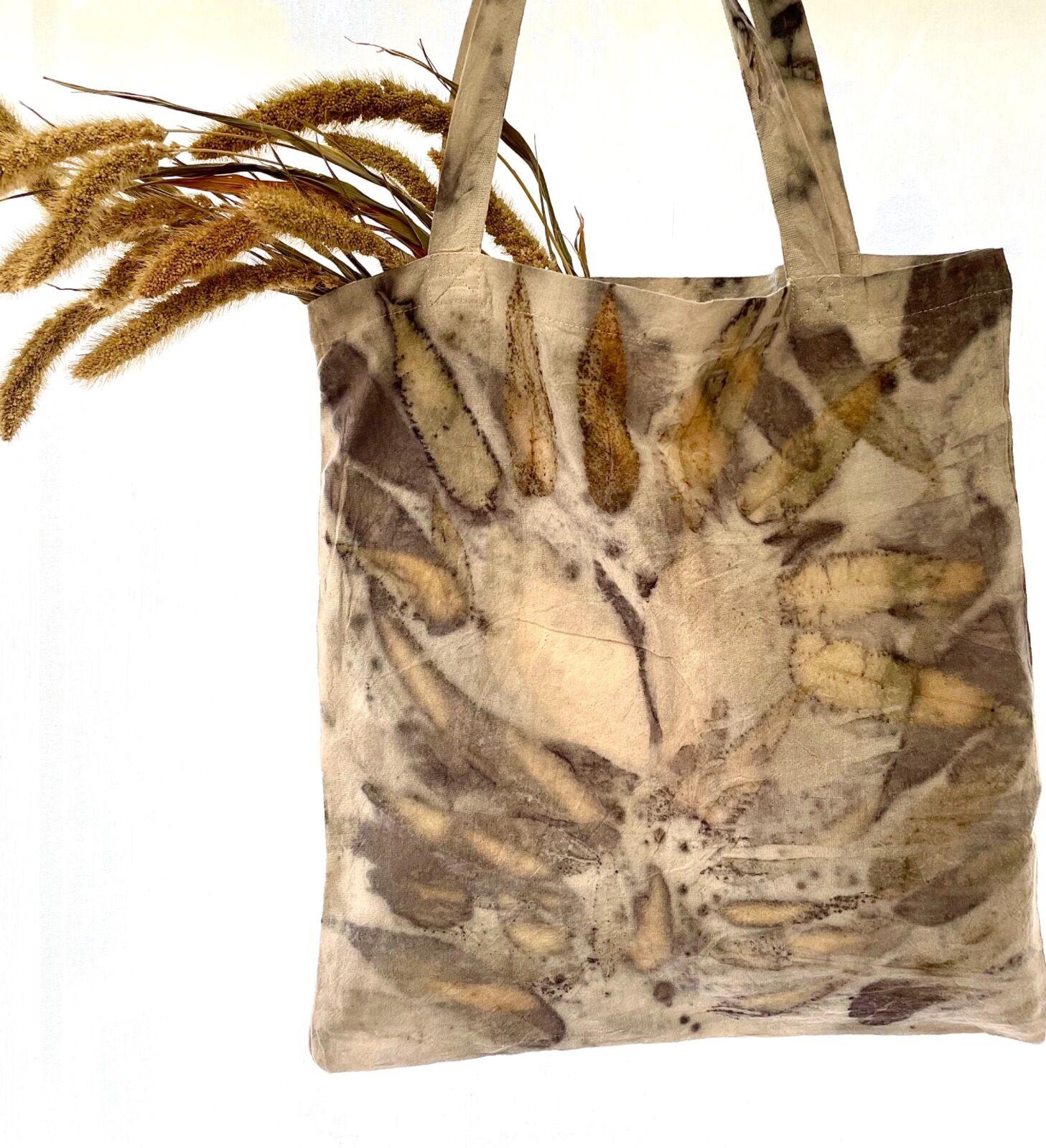 Eco-print tote bag, Sumac and eucalyptus