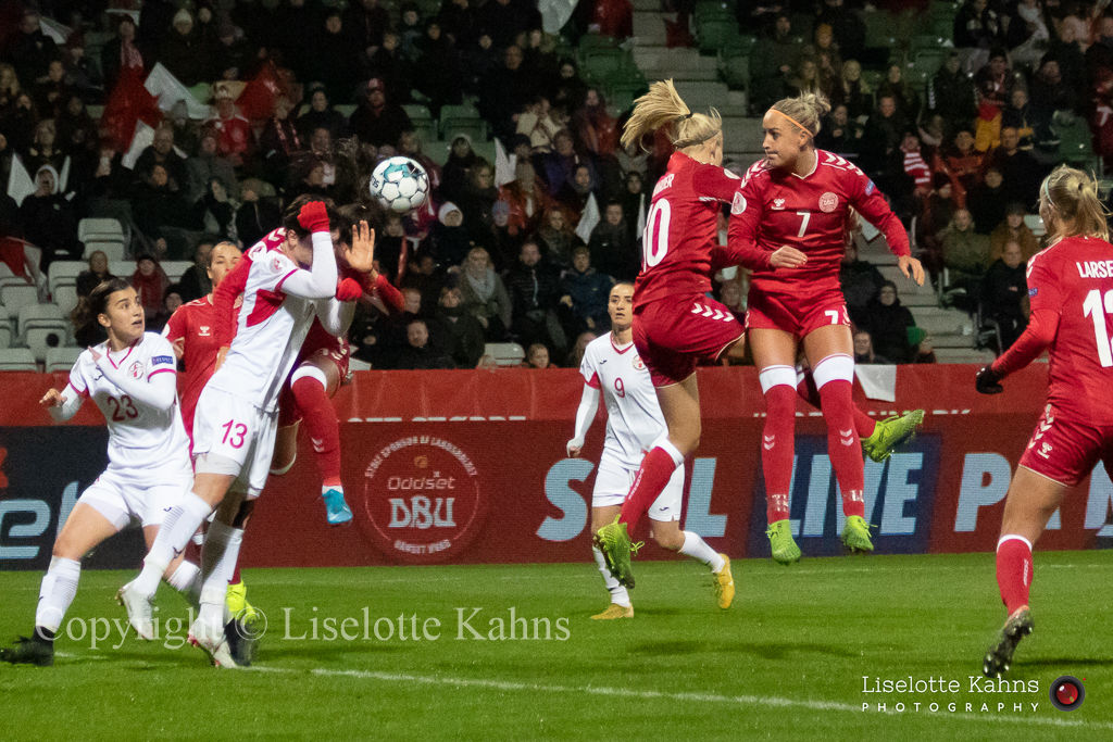 Denmark vs. Georgia. Pernille Harder and Sanne Troelsgaard in action.