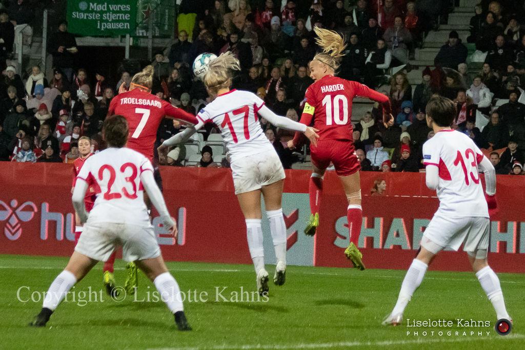 WMS NT, Denmark vs. Georgia. Viborg 2019. Pernille Harder and Sanne Troelsgaard in action