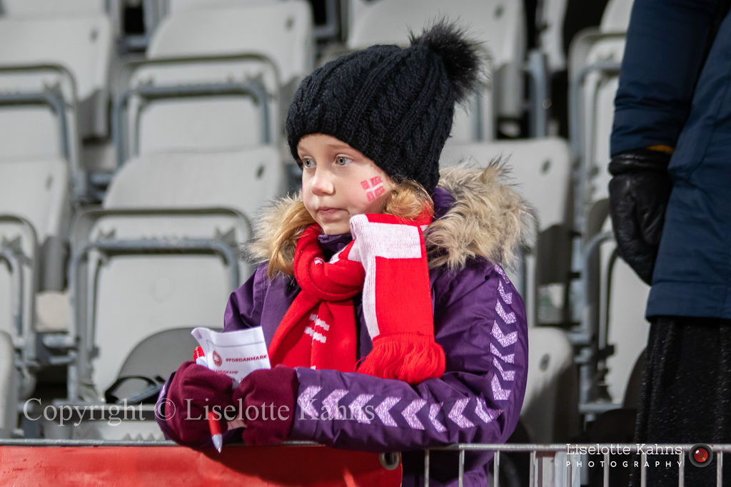 WMS NT, Denmark vs. Georgia. Viborg 2019. Young fan waiting for idols to give autographs