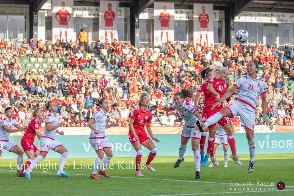 WMS NT, Denmark vs. Malta, Viborg 2019. Pernille Harder and Nadia Nadim in action