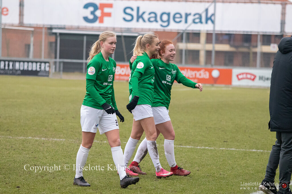"Celebrating the end result, 2-1, in the ""Gjensidige Kvindeliga"" match between Fortuna Hjorring and HB Koge at Hjorring stadium in Hjorring, Denmark"